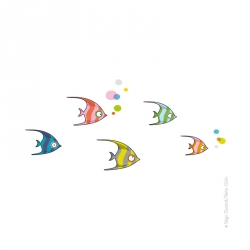 Stickers poissons tropicaux