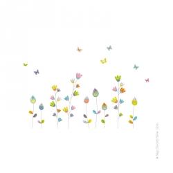 Stickers Fleurs aux papillons