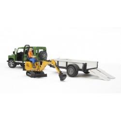 Land Rover avec remorque et excavatrice