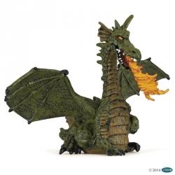 Dragon ailé vert avec flammes