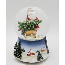 Boule à neige Père Noël avec luge