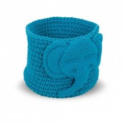 Panier tressé bleu turquoise