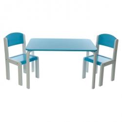 PROMO -40% Table et 1 chaise haute bleu