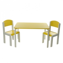 PROMO -40% Table et 1 chaise haute jaune