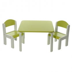 PROMO -40% Table et 1 chaise haute verte