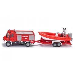 Siku O Camion de pompier avec bateau