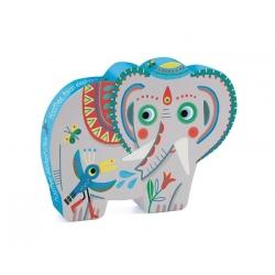 Puzzle silhouettel Haathee éléphant d Asie 24 pièces