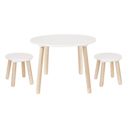 Table ronde et 2 tabourets