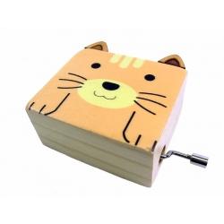 Boîte à musique manivelle chat