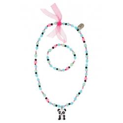 Collier et bracelet panda Vera vert