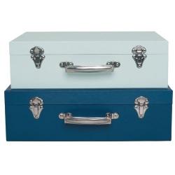 Valise en carton bleue foncé