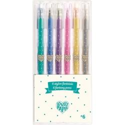 6 stylos gel paillettés