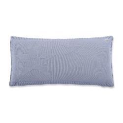 Coussin en tricot bleu
