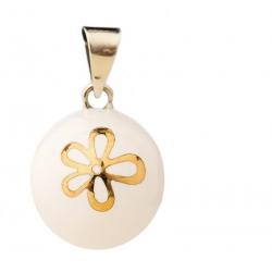 Bola blanc fleur dorée