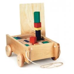 Chariot avec 98 cubes en bois