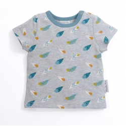 T-shirt gris imprimé plumes Zolan 6 mois