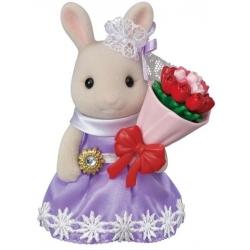 Sylvanian Families - La grande soeur lapin crème et son bouquet de fleurs