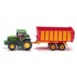 Siku O Tracteur John Deere avec remorque d'ensilage