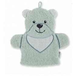 Gant de toilette marionnette ours vert