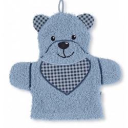 Gant de toilette marionnette ours bleu