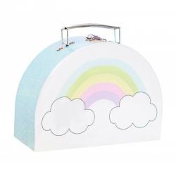 Valise en carton arc-en-ciel
