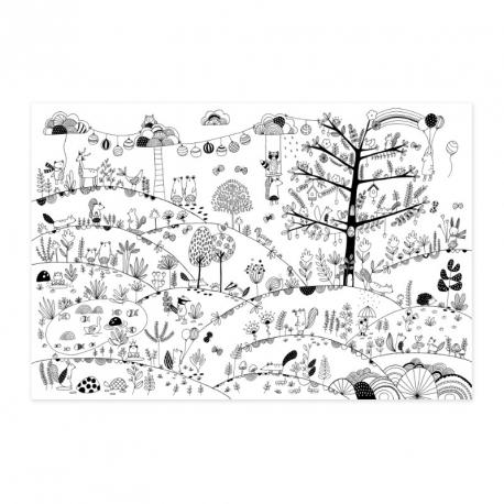 Poster géant à colorier - Forêt enchantée