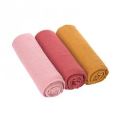 Langes en mousseline L - rose/corail/moutarde