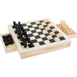 Jeux 3 en 1 - Echecs, dames et moulin