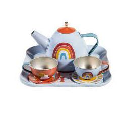 Service à thé en métal arc-en-ciel
