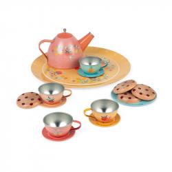 Service à thé en métal fleuri
