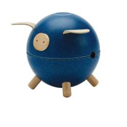 Tirelire cochon bleue