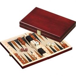 Backgammon mini en bois foncé