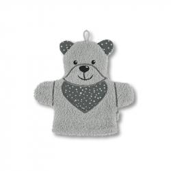 Gant de toilette marionnette ours gris
