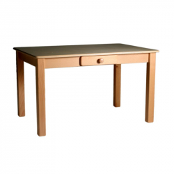 Table rectangulaire en bois avec tiroir