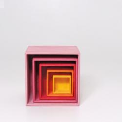 Cubes à empiler en bois rose