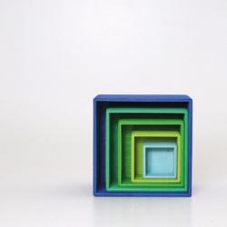 Cubes à empiler en bois bleu