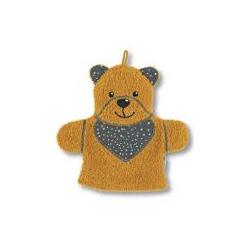 Gant de toilette marionnette ours jaune