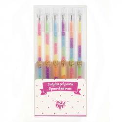 Lovely paper - 6 stylos gel pastel