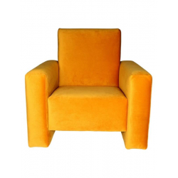 Fauteuil club velours ocre