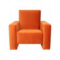 Fauteuil club velours orange